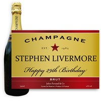 Personalised Champagne - Red and Gold Label